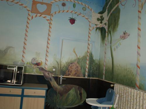 création de décors pour lieu spécifique: salle de restauration pour hôpital enfants service gastro. Réalisation avec mes stagiaires (Art et Métier)