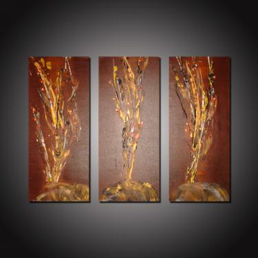 CREATION   ~ Toile Abstraite 29T ~  Superbe Triptyque - 3 Peintures sur toile   Acrylique  Dimension : 70x30 cm (3x)   Site Web : www.albert-derriennic.frdescription