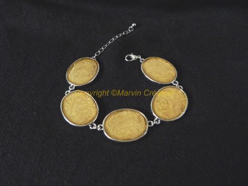 Bracelet ( 19 cm + chainette de rallonge) support argenté oval, peintures à effets doré pailleté Réf: BR07142