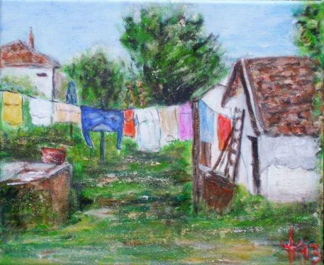 Dans la cour I., Bohême, acrylique sur toile