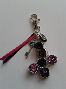 porte clefs rose et violet