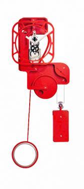 Horloge Murale: POP UP Skeleton Rouge vermillon.  Mouvement mécanique (clé, poids, balancier)à remontage manuel, corps en composite (résine, papier kraft) de 10 mm d'épaisseur, hauteur (corps + balancier) 1,30 m, largeur 0,50 m, réserve de marche 10 jours.   Après les imposantes de bois, les élégantes d?inox et les époustouflantes en verre acrylique, UTINAM Besançon présente les détonantes POP UP. Elles viennent étoffer la grande famille des horloges comtoises, trois fois centenaires, revues et sublimées par Philippe LEBRU, designer et explorateur de temps.