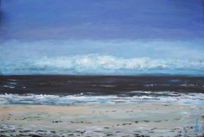 La plage, Bretagne, acrylique sur toile