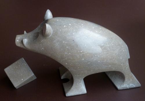 Cochon libre pierre de Buxy H:35 cm