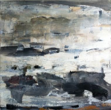CIEL GRIS huile sur toile 75 x 75 cm