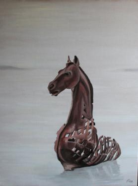 Huile sur toile 80x60 cm: Cheval d'Aytré