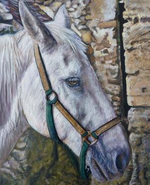 portrait de cheval blanc  tableau de peinture sculpté au mortier en 3D sur toile en vente sur mon site
