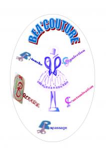 Logo de Béa'couture  :  Confection et création de vêtement, Retouche, Customisation, Broderie, Repassage et Ateliers pour Adulte,Adolescent et Enfant