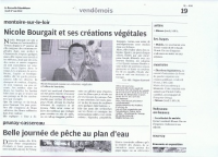 NOUVELLE REPUBLIQUE JEUDI 17 MAI 2012 , NICOLE BOURGAIT THIERRY LE SET DES FLEURS